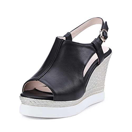 AmoonyFashion Womens High-Heels Solid Buckle Soft Material Open Toe Sandals Black 6HeZBFS