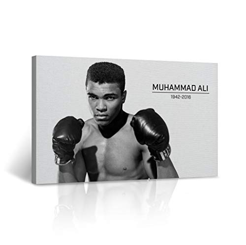 Young and Handsome Muhammad Ali Training Pose 1942-2016 Canvas Print Decorative Black and White Wall Art Home Decor Artwork Stretched - Framed Ready to Hang -%100 Handmade in The USA 15x22