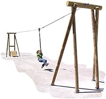 Kid - Juego de Tirolesa (20 m, homologado en Madera Maciza, a Partir de 5 años): Amazon.es: Jardín