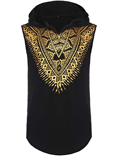 Pacinoble Mens African Dashiki Shirt Metallic Floral Printed Sleeveless Pullover Hoodie Tank Top T Shirts