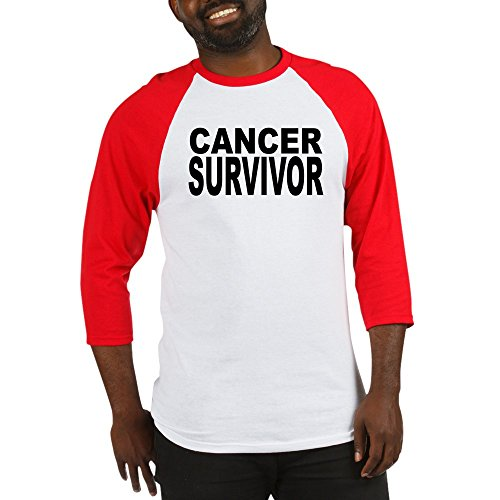 CafePress Cancer Survivor Baseball Jersey Cotton Baseball Jersey, 3/4 Raglan Sleeve Shirt Red/White