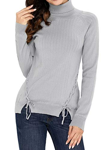 (Women Gray Long Sleeve Turtleneck Braided Sides Lacing Strappy Sweater Top S)