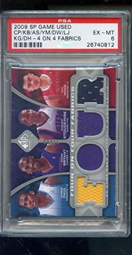 - 2009-10 Upper Deck SP Game Used Four On Four Fabrics Kobe Bryant Lebron James Chris Paul Amare Stoudemire Yao Ming Dwyane Wade Kevin Garnett Dwight Howard 4 31/99 Game-Used Game-Worn Jersey NBA PSA 6 Graded Basketball Card