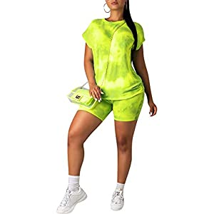 acelyn Women's Casual Shorts Set – Tie Dye Short Sleeve T-Shirts Biker Short Tracksuit Set 2 Piece Outfits