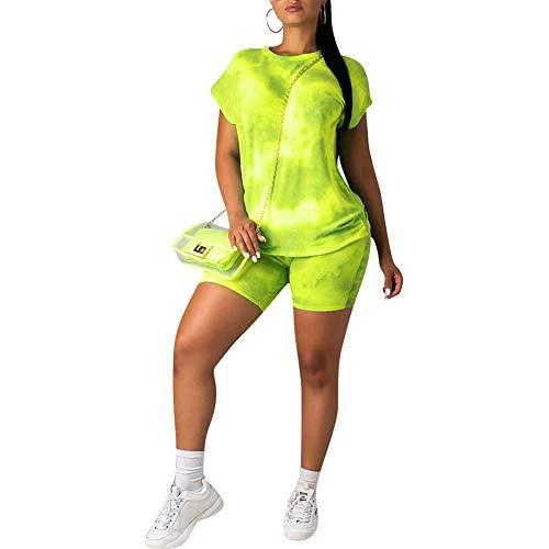 (acelyn Women's Casual Shorts Set - Tie Dye Short Sleeve T-Shirts Biker Short Tracksuit Set 2 Piece Outfits Yellow XX-Large)