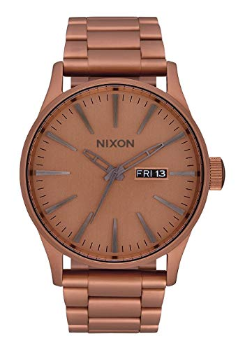 NIXON Sentry SS A375 - Matte Copper/Gunmetal - 119M Water Resistant Men's Analog Classic Watch (42mm Watch Face, 23mm-20mm Stainless Steel Band) ()