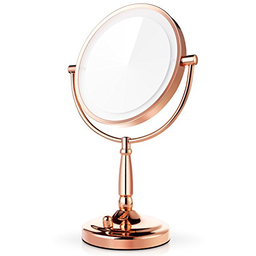 (Miusco 7X Magnifying Lighted Makeup Mirror, 8 Inch Two Sided White Daylight LED Shadow Free LED Vanity Mirror, Battery and Adapter, Rose)