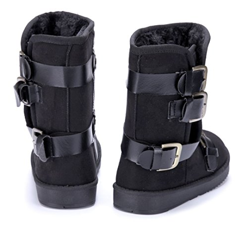 186dc48aeec1bf Schuhtempel24 Damen Schuhe Winterstiefeletten Stiefel Boots Flach Schnalle  Schwarz ...