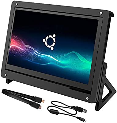 for Raspberry Pi 7 Inch Capacitive Touch Screen, Kuman LCD HDMI Input 1024x600 Display with Case Stand