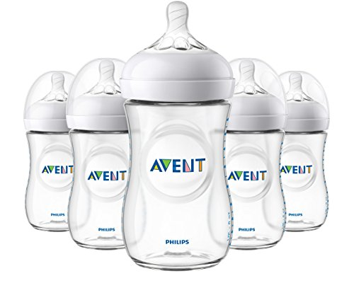 Philips Avent Natural Baby Bottle, Clear, 9oz, 5pk, SCF013/57 (Natural Assembly)