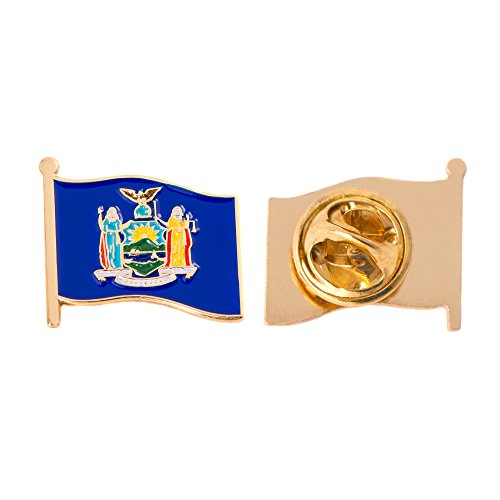 New York NY State Flag Lapel Pin Enamel Made of Metal Souvenir Hat Men Women Patriotic New Yorker (Waving Flag Lapel Pin) ()