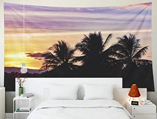Yecationy Dorm Tapestry, Tapestry Psychedelic Tapestry 80x60 Inch Silhouette Sunset Coconut Tree Tropical Plant Clouds Sky Yellow Purple Tapestry Wall Hanging Living Room Decoration Tapestries -