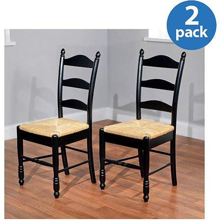 Striking Yet Traditional Feels Like Home Vibe Comfy Easy Care Reliable and Tough Ladder Back Rush Seat Chairs - Set of 2, Black - Perfect for Dining, Kitchen Or Dorm