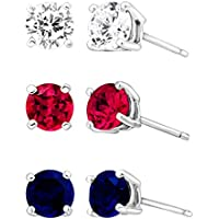 Finecraft 3 3/8 ct Ruby, Blue & White Sapphire Stud Earring Set