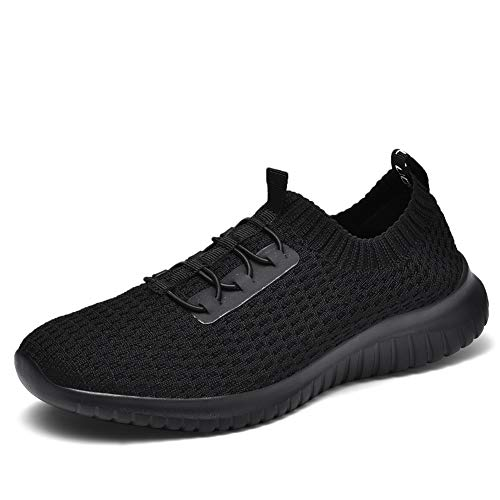 TIOSEBON Women's Ultralight Casual Fashion Walking Shoes Breathable Flyknit Running Slip-On Sneakers 13 US All Black ()