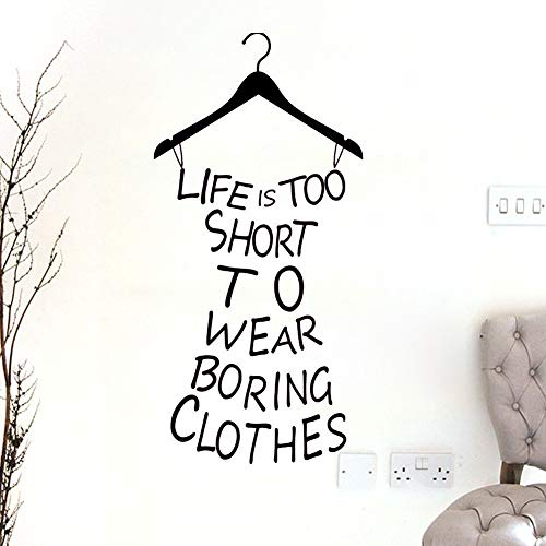 CrazyWEN-Sticker-Hot Wall Sticker Home Decor Quotes Life is Too Short to Wear Boring Clothes Custom Vinyl Wall Art Decor Mural Decals Wall Lettering Saying Quotes Dress Shape Stickers DIY Girls Be