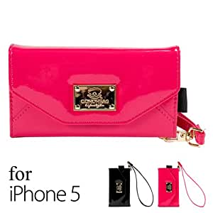 iPhone 5s Case, GMYLE Rose Red Premium Luxury PU Leather Wristlet Clutch Purse Flip Wallet Case Bag with Hand Strap & Card Holder & Camera Hole for iPhone 5/5S