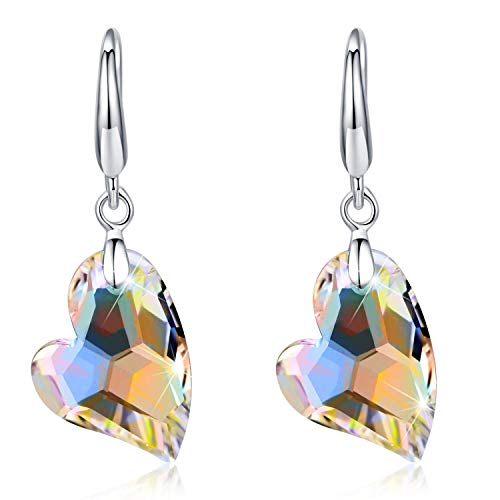 (Tacther.H Womens Heart Swarovski Crystals Dangle Hook Earrings Sterling Silver Jewelry Gifts)