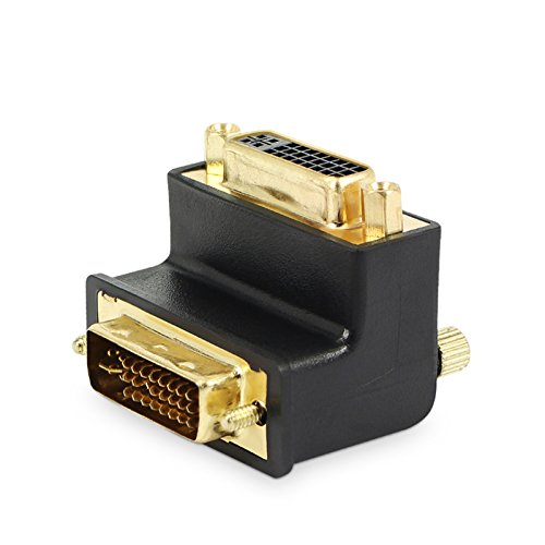 Socket Dvi (Allytech 1 Pack DVI-I 24 + 5 Pin Male To Female M/F Gold Plated 90 Degree Right Angle Adapter Monitor Connector)