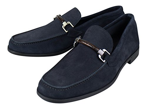 ERMENEGILDO ZEGNA Blue Suede Leather Loafers Dress Shoes Size 7.5 US D
