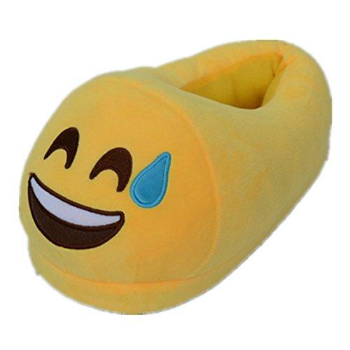 Sabe Unisxe Mujer Hombres Inicio Creativo Emoji Cartoon Expression Divertido Suave Par De Zapatillas Silly Laugh