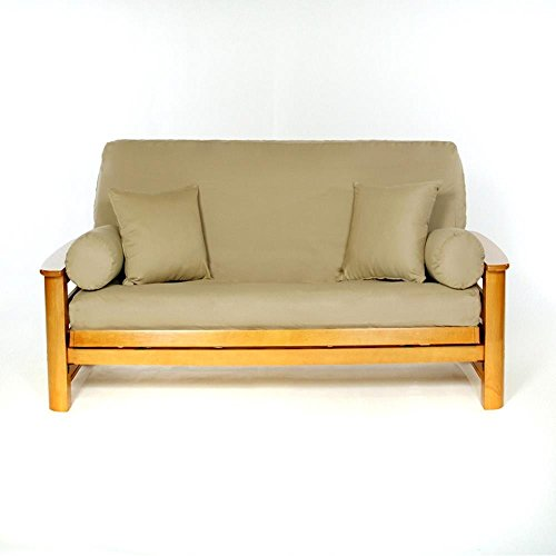 LS COVERS KHAKI FULL FUTON COVER, Full Size Fits 6-8in Mattress, 54 x 75 Inch by LS Covers
