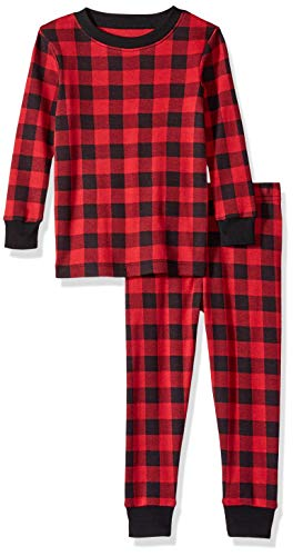Amazon Essentials Baby 2-Piece Pajama Set, Buffalo Check, 6-12M