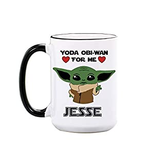 Baby Yoda Mug – Personalized Large Ceramic Cup – Yoda One For Me – Boyfriend Gifts from Girlfriend – Star Wars Mugs Gift for Girlfriend – Gifts for Boyfriend from Girlfriend – Dishwasher Safe