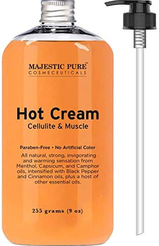 Majestic Pure Cellulite Cream, 87% Organic, Tight Muscles & Joint and Muscle Pain, Natural Cellulite Treatment - Soothes, Relaxes, and Tightens Skin - 9 Oz