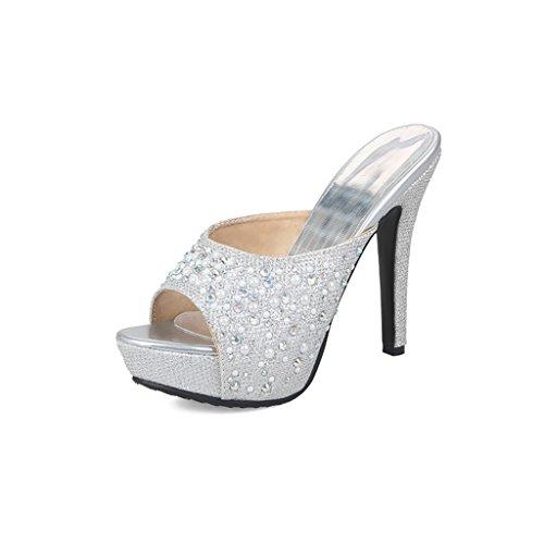 Pantoufles pour Femme Chaussures Été PU Femmes Talon Hauts Mince Silver Sandales Mode Talons Rxtpvn