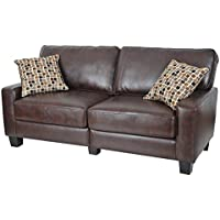 Serta Monaco Sofa in Biscuit Brown Bonded Leather
