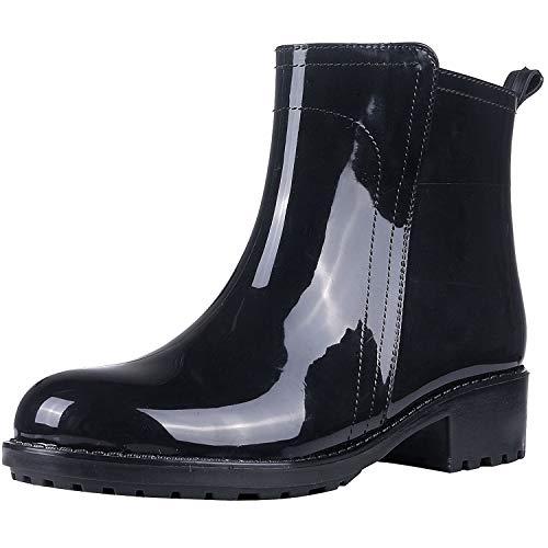 Evshine Women's Glossy Ankle Rain Boots Waterproof Garden Shoes B40 Black