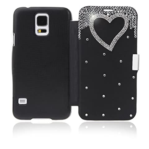 Docooler® Flip Bling Flower Case PU Cover for Samsung Galaxy S5 i9600 (Black) (Flip Cover Cases For Galaxy S5)