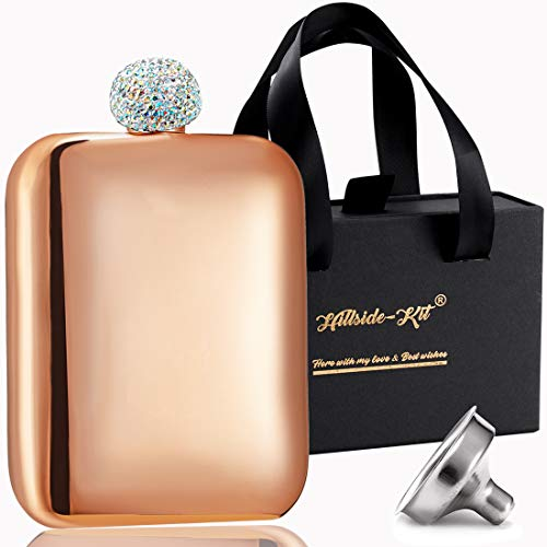 Booze Shot Flask- AB Crystal Lid Creative 304 Stainless Steel Wine Alcohol Liquor Flask for Women Girls Men Party Hand size Flask-6OZ (rose gold, 1) ()