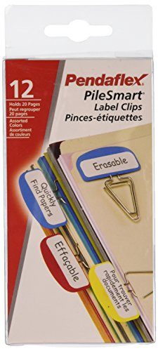 Pendaflex Pilesmart Label Clips with Write On Tabs, Primary Assorted Colors, 12 per Pack (18651EE) ()