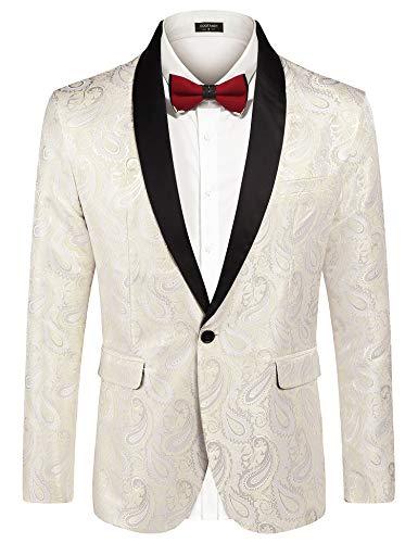 Flap Pocket Single Breasted Blazer - COOFANDY Men's Rose Floral Suit Jacket Blazer Weddings Prom Party Dinner Tuxedo