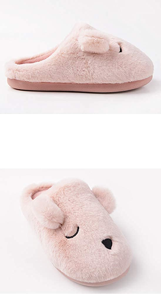 Tuoup Womens Cute Bear Fuzzy House Animal Slippers Indoor Shoes