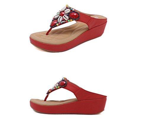 Zhhzz Perline Ms Rosso Puro Liangxie Toe Clip New Colore Pendenti Sandali Sandal Summer 4qnPZ8