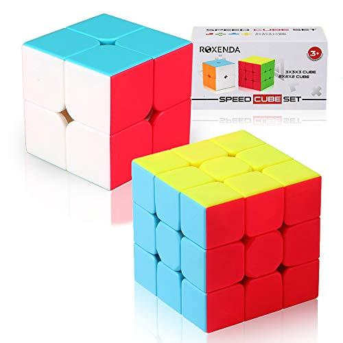 (Roxenda Speed Cube Set of 2x2x2 3x3x3 Stickerless Magic Cube Enhanced Edition with Gift Box)