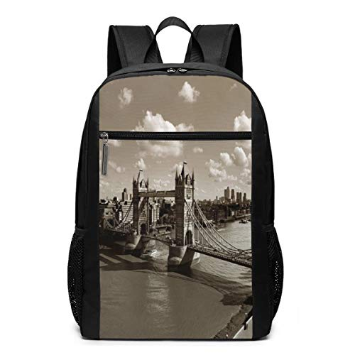 School Laptop travel sports Backpack bag,Tower Bridge In London City Cloudy Sky Old Historic Cityscape Nostalgia England,Casual Daypack for Business/College,17