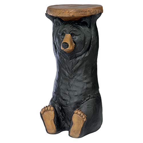 Adirondack Coffee Table Finish - Design Toscano Black Forest Bear Pedestal Table Rustic Cabin Decor, 24 Inch, Polyresin, Full Color