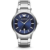 Emporio Armani Men's Renato Watch, 43mm, Silver/Blue, One Size