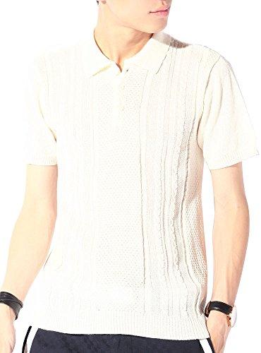 (ベストマート) BestMart 薄手 サマーニット ケーブル 夏ニット ポロシャツ メンズ 620845