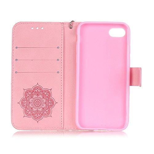 Apple iPhone 7Sac étui Cover Case de protection Attrape-rêves Cartes decui Rose Housse en simili cuir