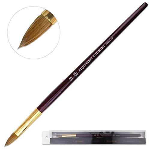 Fuji Brand Size # 10 Oval Crimped Shaped Purple Wood Handle Acrylic Nail Brush Professional Salon Quality 100% Pure Kolinsky Hair Bristles