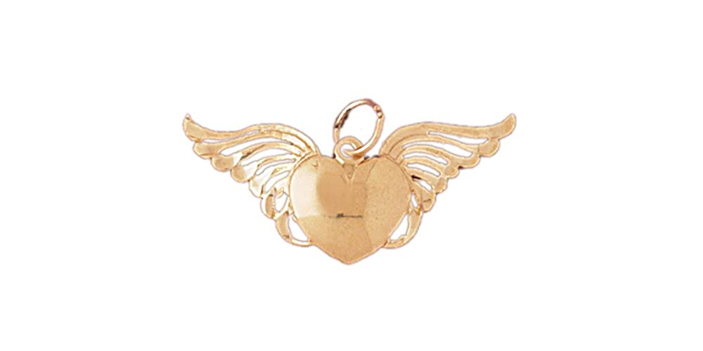 14k Yellow Gold Heart with Wings Pendant