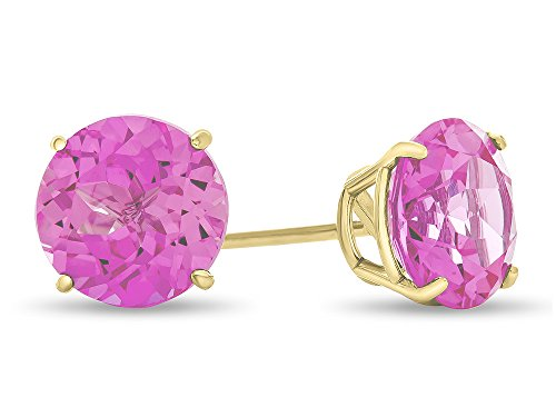Finejewelers 10k Yellow Gold 7mm Round Created Pink Sapphire Post-With-Friction-Back Stud Earrings ()