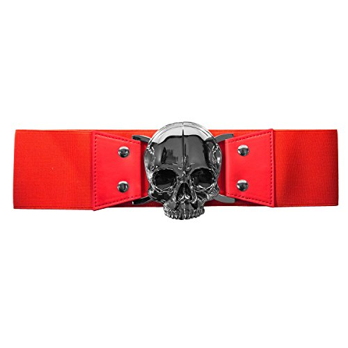 Chrome Skull Red Elastic Waist Belt Kreepsville Costume Gothic Horror Fashion (L-XL (30-36 IN)) -