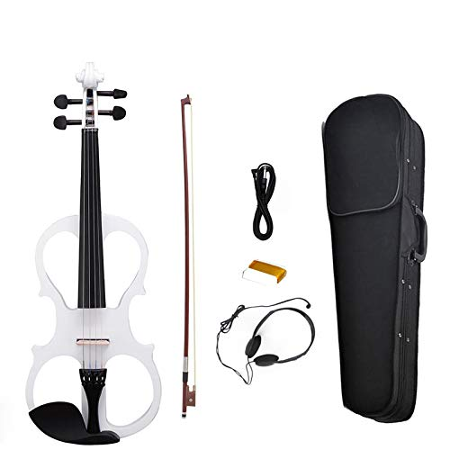 NAOMI Electric Violin Balance Sound Full Size 4/4 Electric Violin Fiddle Solid Wood High Level Electric Violin NEW SET White by NAOMI