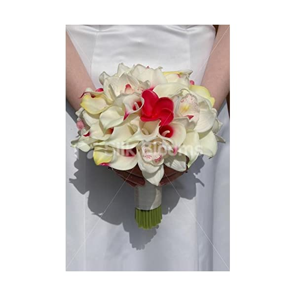 Tropical Bridal Bouquet with Frangipanis, Orchids & Lilies